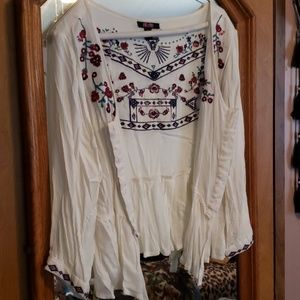 Embroidered Boho Hippie Cropped Vest Jacket